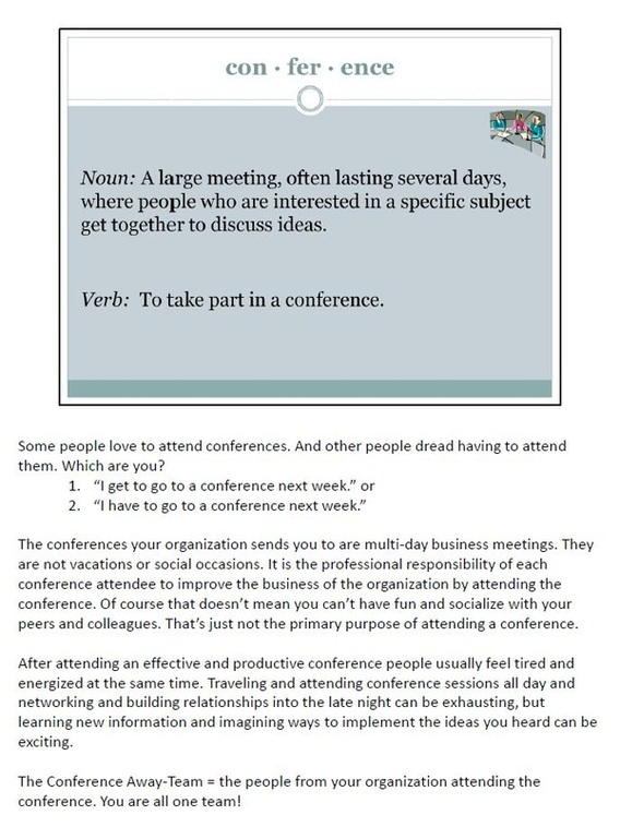 Workshop  Tips For Attending Conferences
